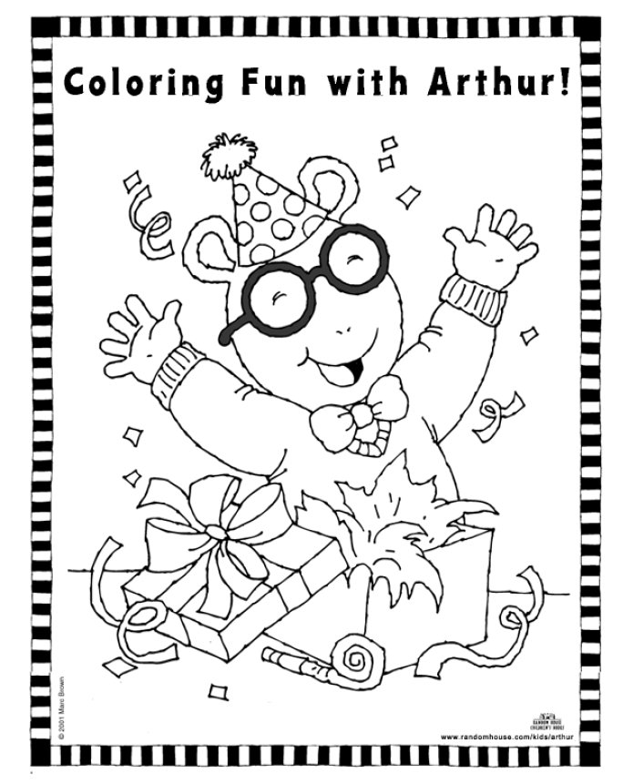 Coloring activity pages arthur 39 s birthday coloring page for Arthur coloring pages