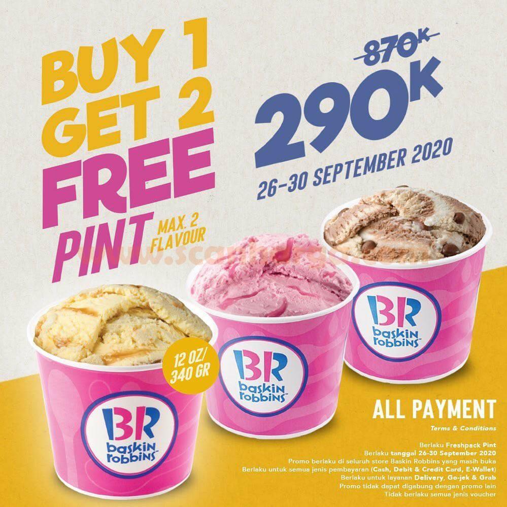 Promo Baskin Robbins BELI 1 GRATIS 2 Freshpack Pint untuk All Payment
