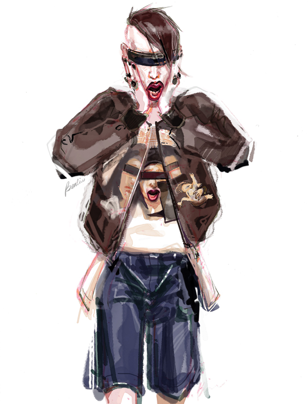 Marilyn Manson fashion illustration