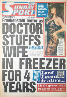 Front page of the British newspaper the Sunday Sport dated 10 July 1988