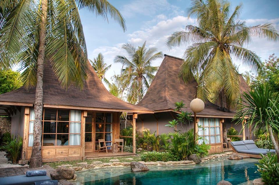 villa dekat pantai di gili trawangan lombok