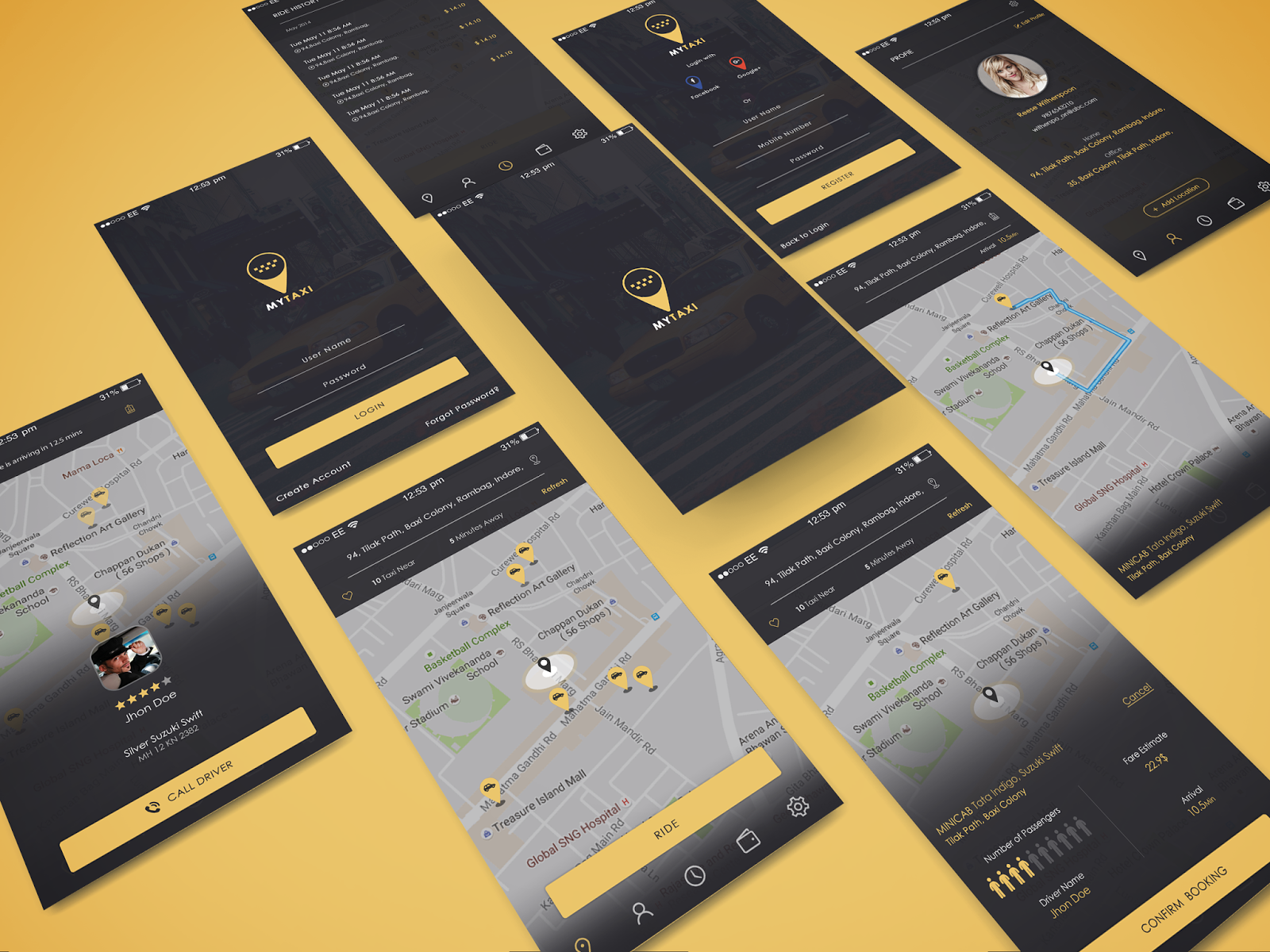 My Taxi App UI Design