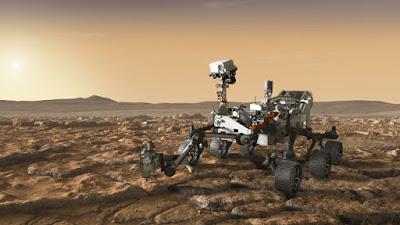 Un altro concept di artista che mostra il rover Mars 2020 della NASA che esplora Marte.