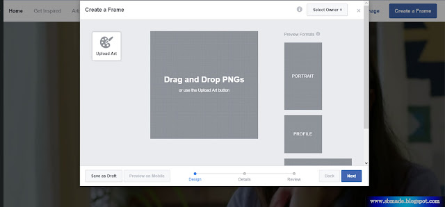 How to publish facebook frame