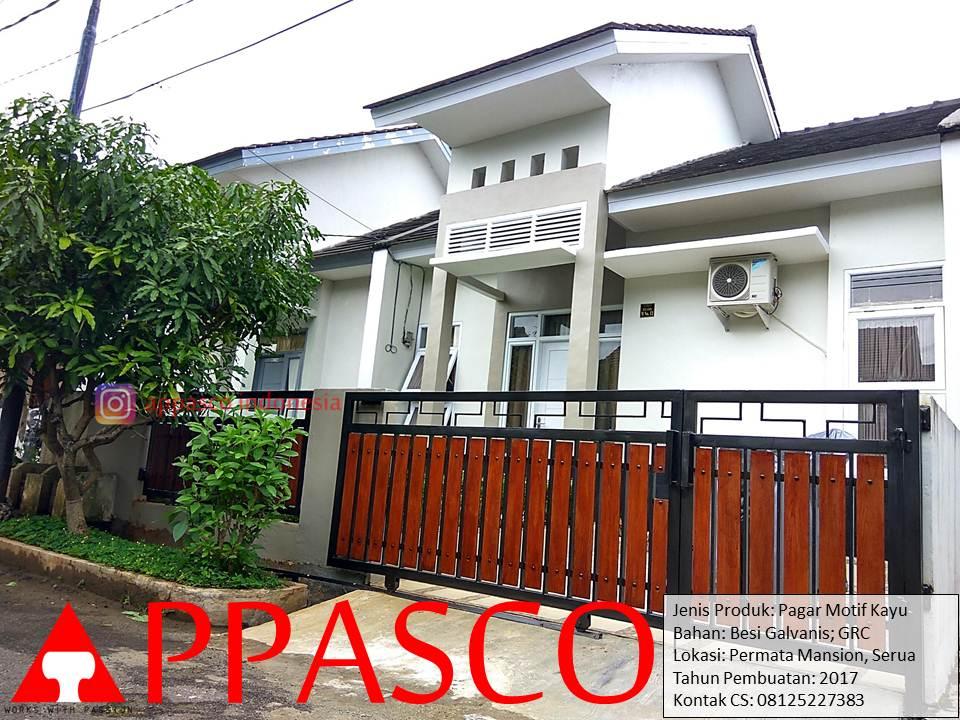 Pagar Rumah Model Minimalis Klasik Modern Motif Kayu di Permata Residence Serua