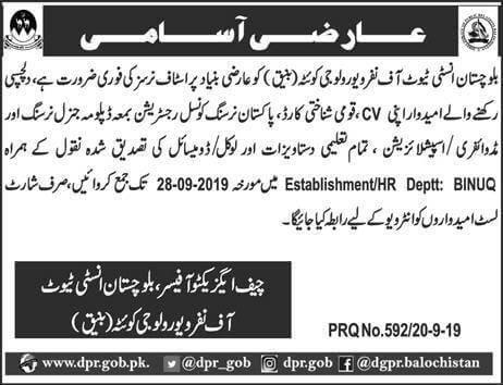 Jobs in Balochistan Institute Of Nephro-Urology Quetta - Balochistan Jobs