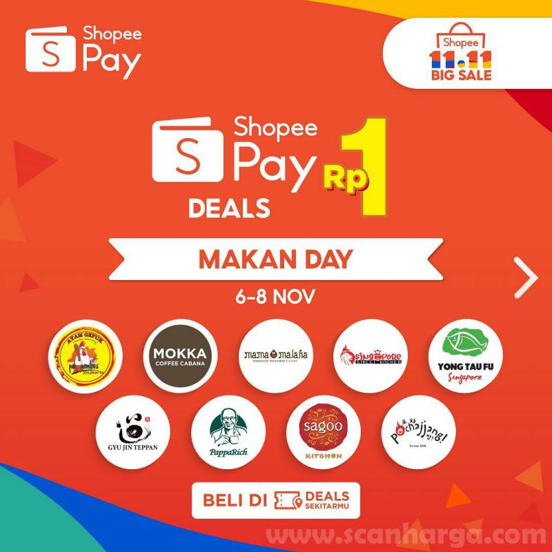 Shopeepay Promo Makan Day cuma Rp 1,- di Banyak Restoran