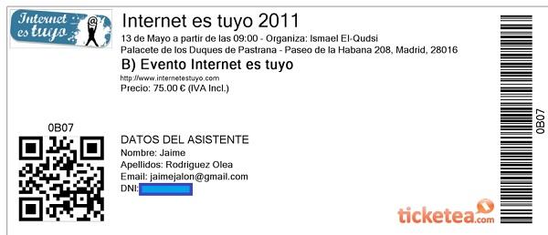 Entrada Internet es Tuyo 2011 Madrid