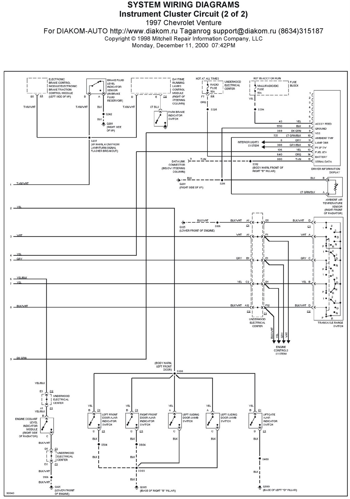 1997 Chevrolet Venture Instrument Cluster Circuit System Wiring Diagrams | Schematic Wiring