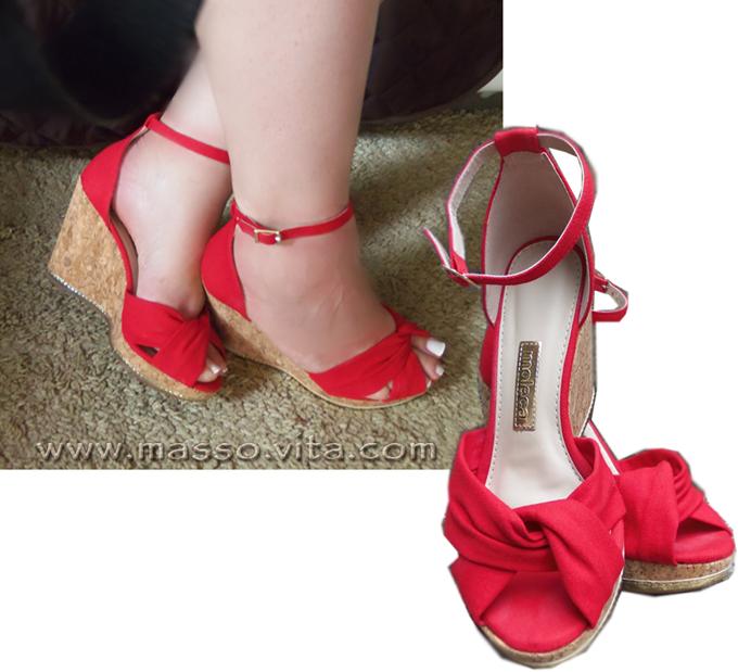 Sandália Plataforma Vermelha Moleca