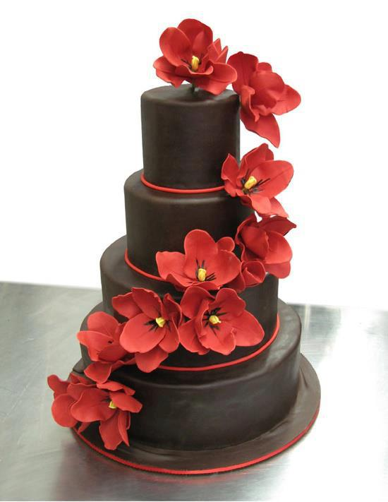 Delicious chocolate birthday cake with red flowers - ツ ...