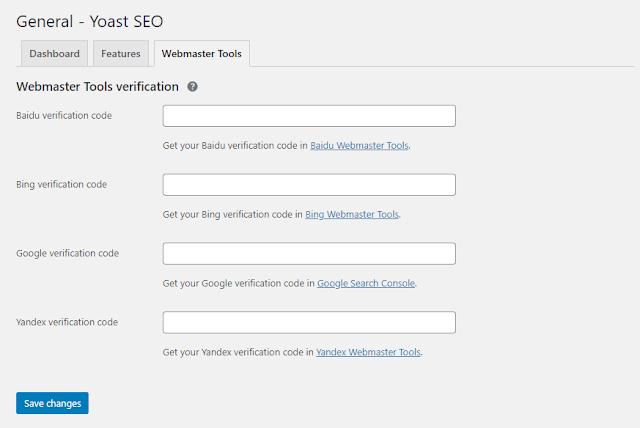 Webmaster Tools Settings