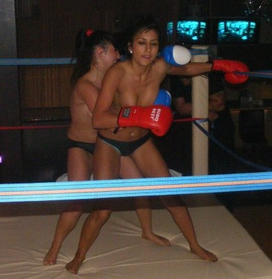 Foxy female bikini boxing