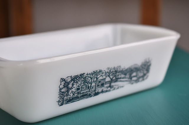 Glasbake USA vintage milk glass rural scene loaf pan