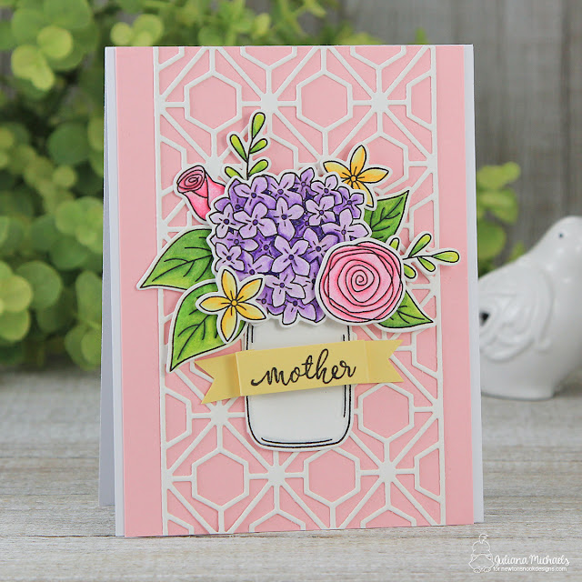 Mother Day's Card by Juliana Michaels featuring Newton's Nook Designs Lovely Blooms Stamp and Die Set