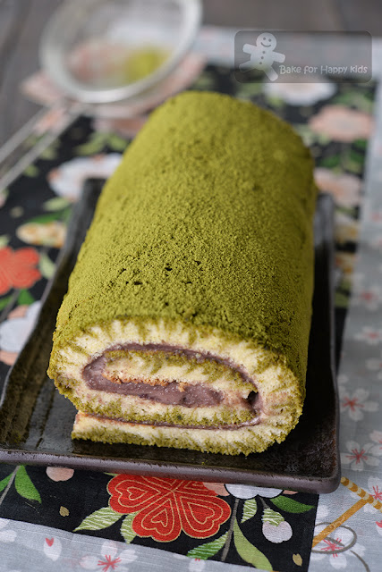 match green tea red bean hurricane chiffon Swiss roll