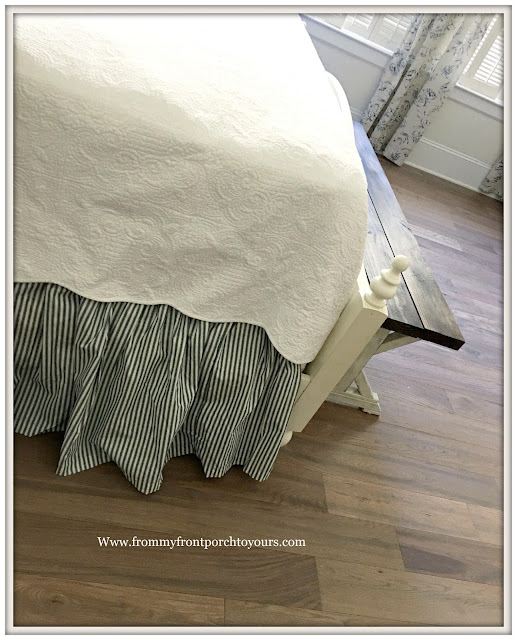 French Farmhouse-Master Bedroom-Ticking Stripe Bedskirt-Farmhouse-From My Front Porch To Yours