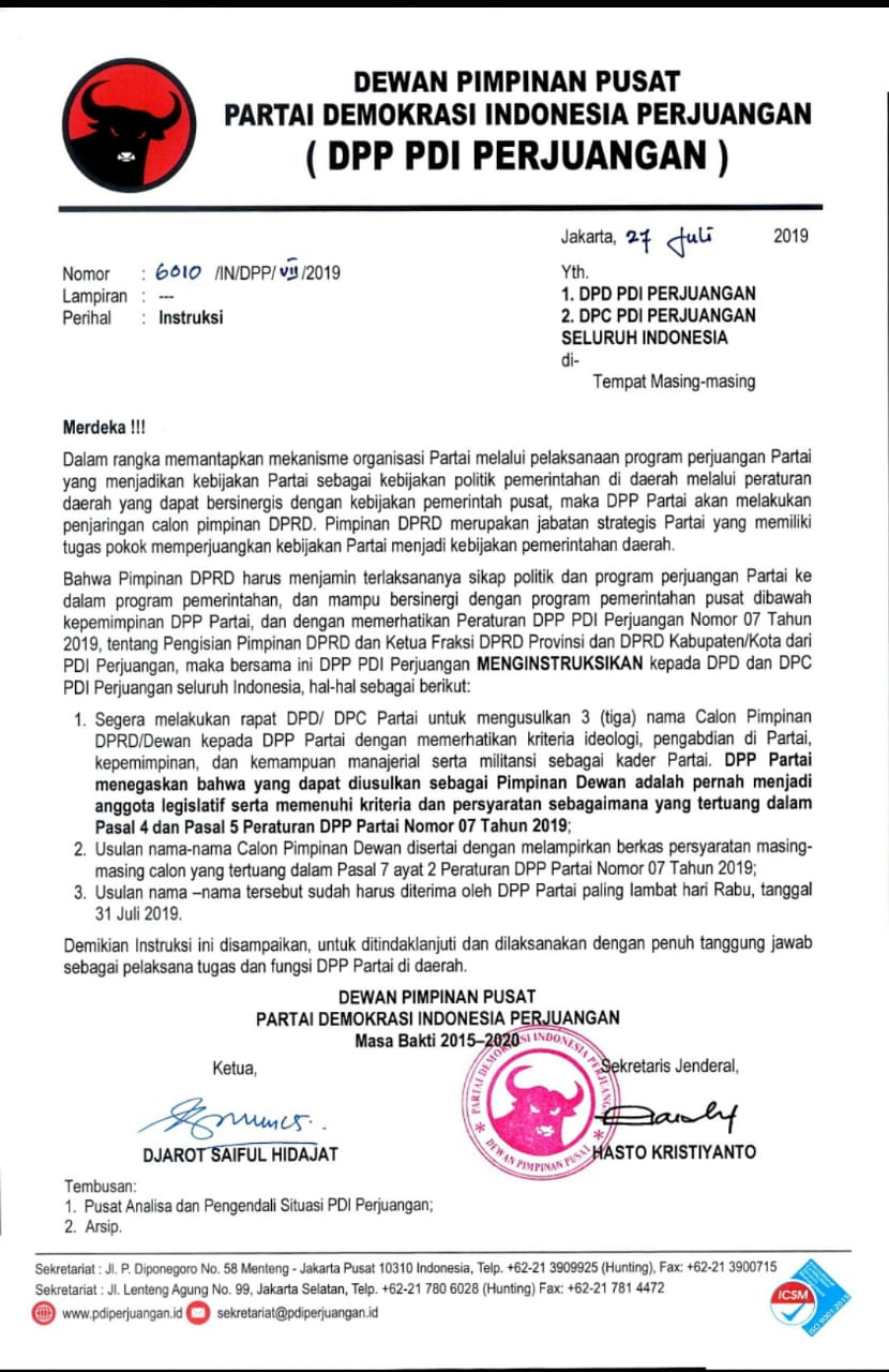 PDI Perjuangan Godok Nama Freddy Ering-Wiyatno Sebagai Ketua DPRD Kalteng