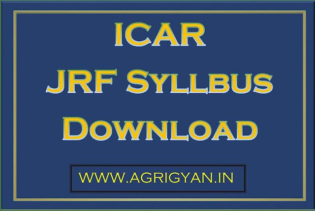 icar jrf syllabus agrigyan