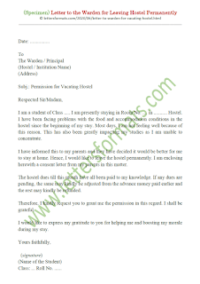 letter to warden for hostel leaving permanently
