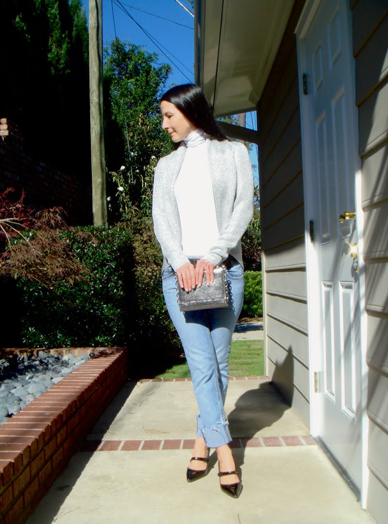 Casual Metallics Outfit - holding clutch in front of body.