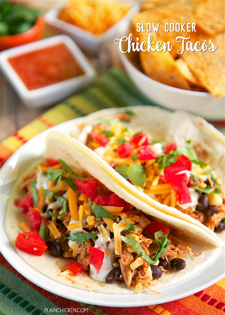 ! chicken, salsa, taco seasoning, corn and black beans. Great in taco ...