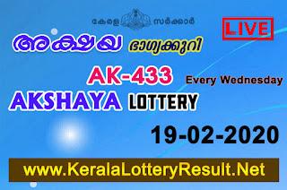 Kerala Lottery Result 19-02-2020 Akshaya AK-433 Lottery Result