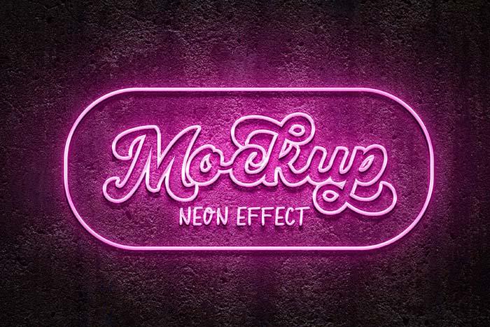 Pink Color Neon Effect PSD Mockup