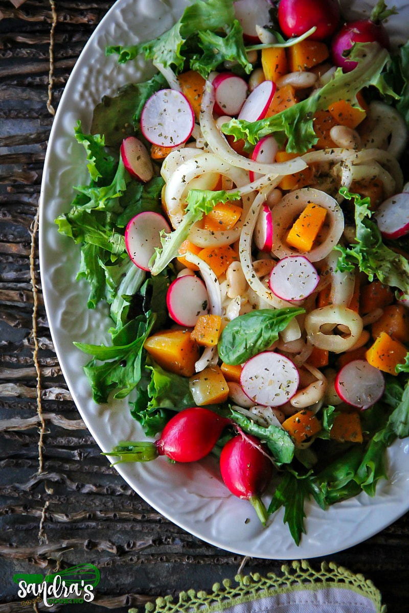 Butternut Squash, Beans and Onions over Mixed Greens #Salad #recipe