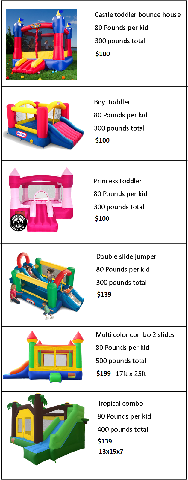 Arizona toddler bounce house rentals prices