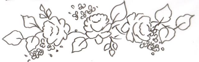 pintura em tecido toalha de banho flores risco rosas