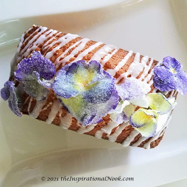 Lemon Pound Cake with sugared pansies, sugar flower cake decorations