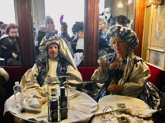Carnival Revelers at Caffè Florian - Photo: Cat Bauer Venice Blog