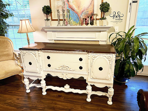 Finished Antique White Buffet using Dixie Belle Fluff and Mahogany Stain
