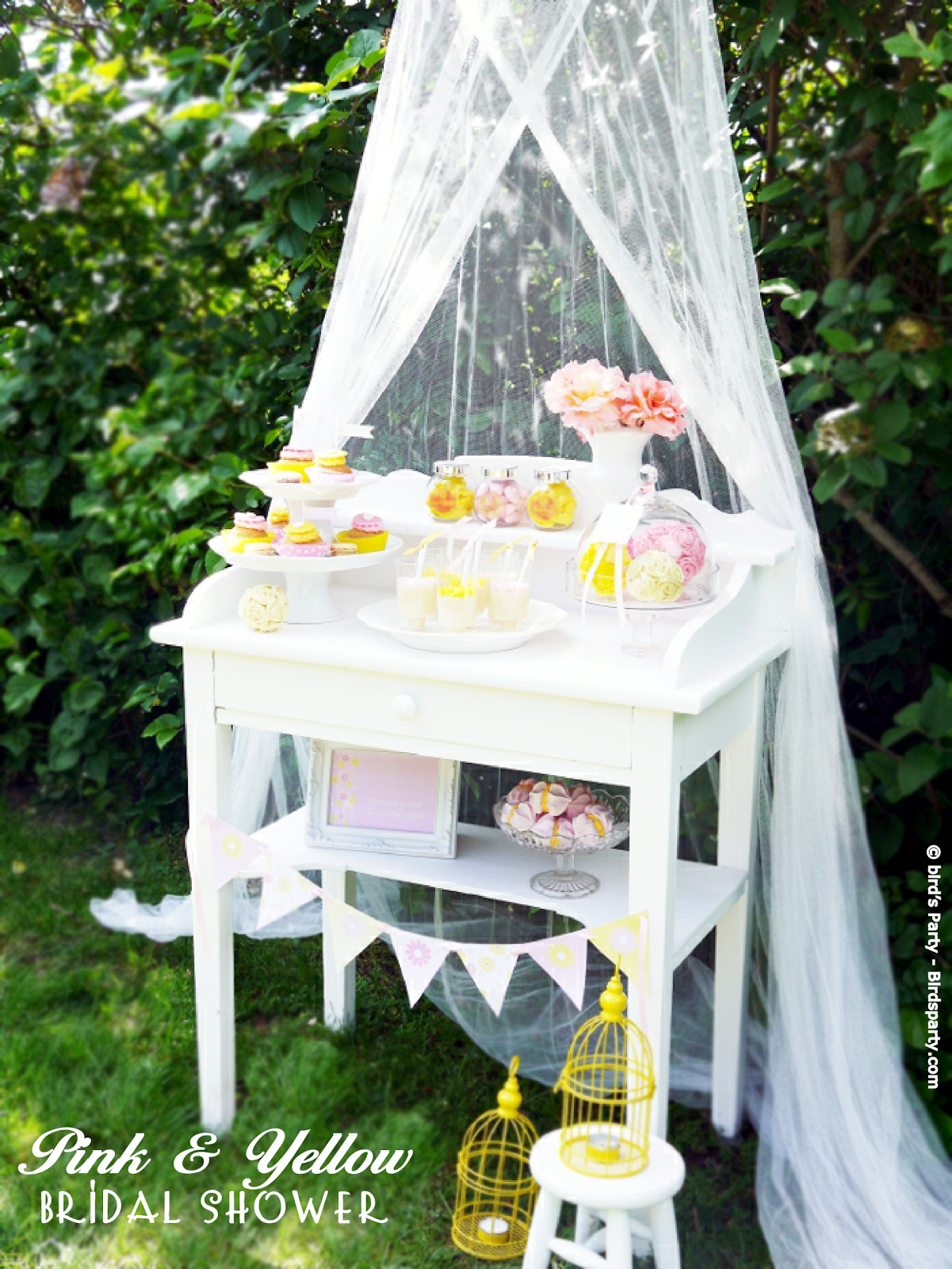 A Pink and Yellow Bridal Shower  - BirdsParty.com