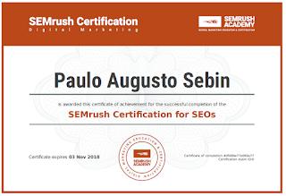 Capa de certificação de SEO pela SEM Rush