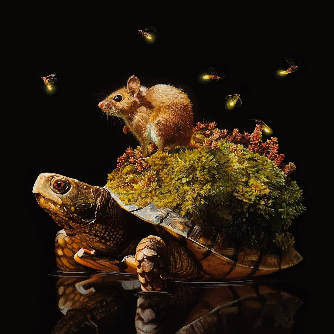 05-Island-Lisa-Ericson-Animals-Interspecies-Friendships-Paintings-www-designstack-co