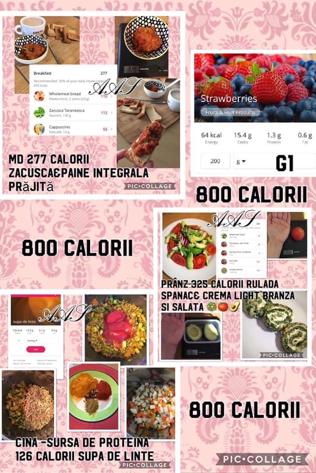 800 de calorii pe zi meniu dieta