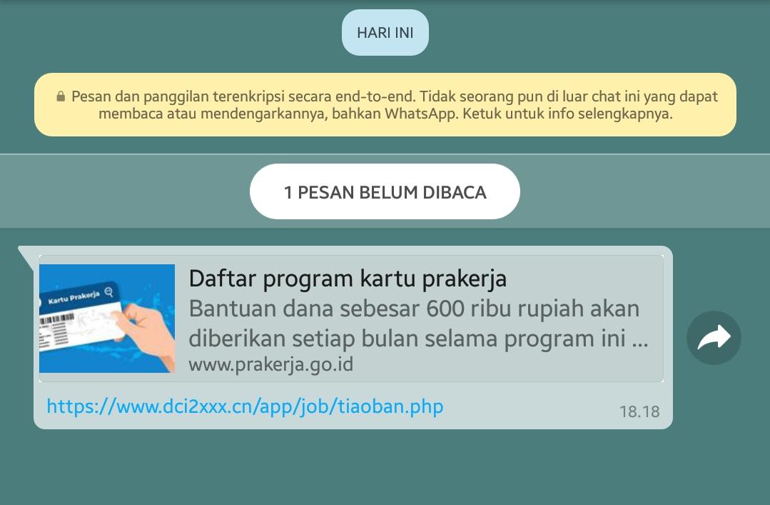 Beredarnya Penipuan Terbaru Link Prakerja di Whats App (WA) HOAK