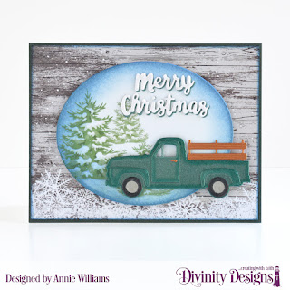 Custom Dies: Pickup Truck, Pierced Ovals, Holiday Words, Paper Collections: Rustic Christmas, Christmas 2018