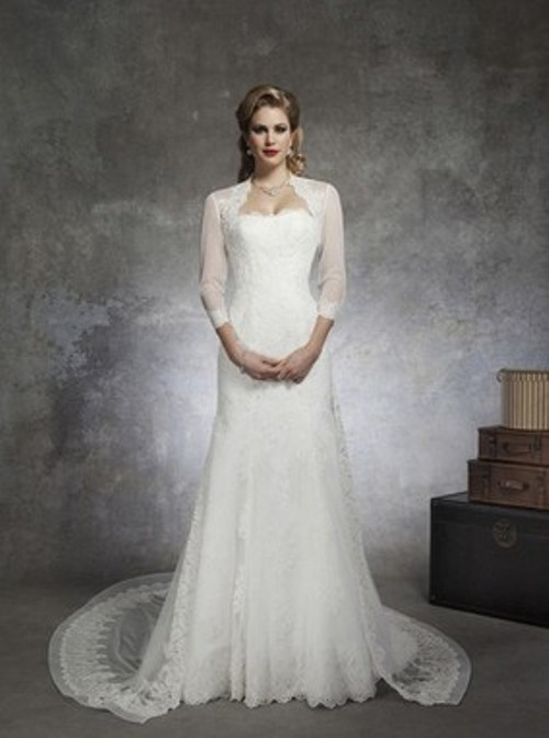 Different Sheath/Column Strapless White Lace Detachable Wedding Dress - Price: USD $227.43
