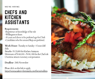 VACANCY FOR CHEFS, REVENUE COLLECTION OFFICER, BARTENDERS, KITCHEN AND RETAIL ASSISTANTS.