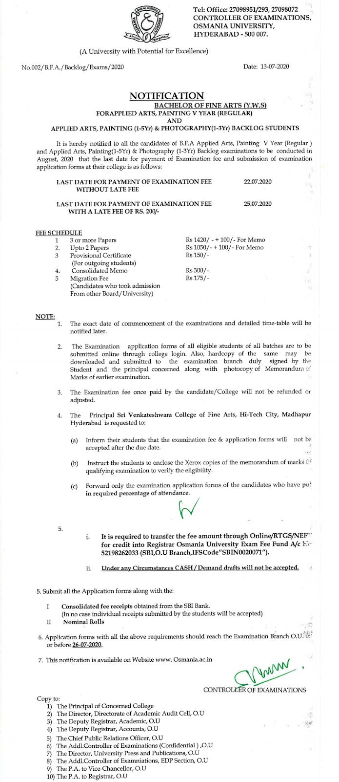 Osmania University BFA (Applied Arts, Painting) 5th Yr Reg & All Backlog August 2020 Exam Fee Notification