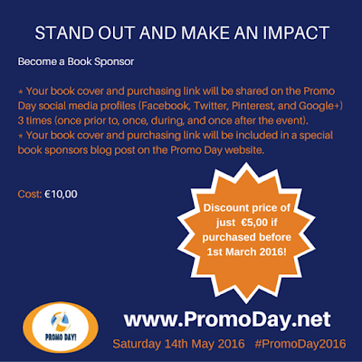 ‪#‎SpecialOffer‬: Be a #‎PromoDay2016‬ Book Sponsor for just €5 per Book!