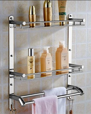 OSLEN Stainless Steel Double Layer Shelf with Towel Road To Organize Your Bathroom