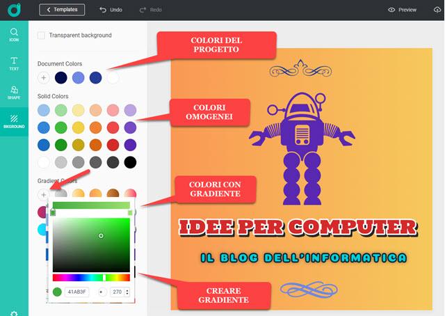 creare sfondo personalizzato con gradiente