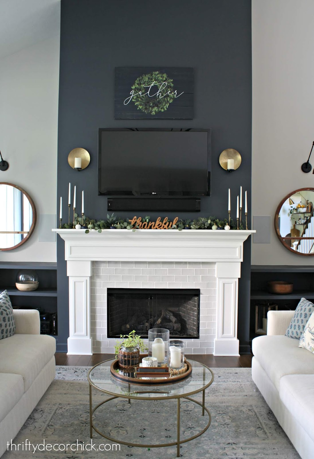 Symmetrical sofa set up with fireplace