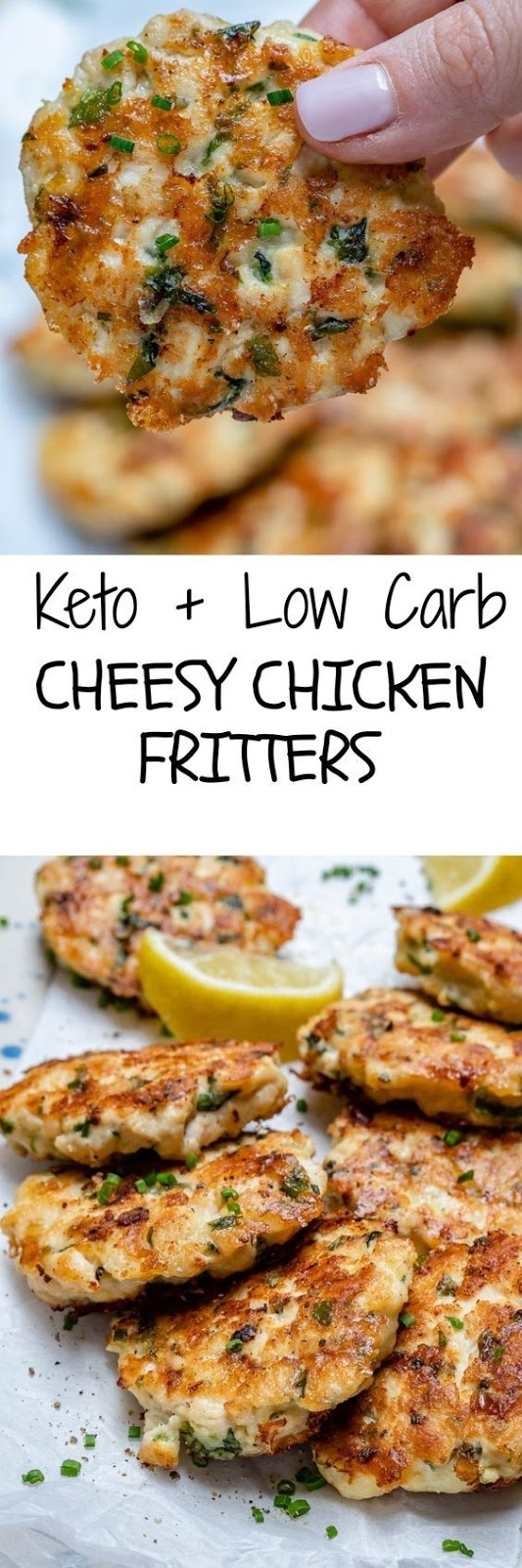This cheesy chicken fritters recipe takes just 30 minutes to make, so it's super easy and also perfect for the Keto diet. As you will see in other recipes, there are many ways of preparing the mixture for the cheesy chicken fritters. But I wanted to make them Ketogenic so I had to stick within the rules and use only approved ingredients.