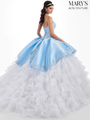Mary's Quinceanera New Ball Gown Ice Blue/white Dress back side