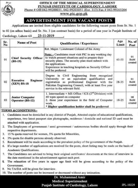 Punjab Institute of Cardiology PIC Lahore Jobs